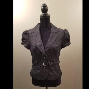 B.Wear Byer California Tweed Short Sleeve Blazer